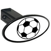 "Soccer Ball, Sports 1.25"" Oval Tow Trailer Hitch Cover Plug Insert"