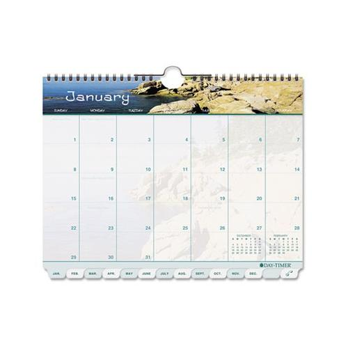 "Day-Timer Coastlines Tabbed 12-Month Wirebound Wall Calendar, 11"" x 8-1/2"", 2016"