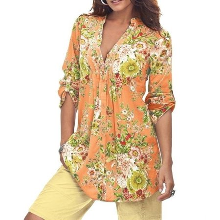 V-neck Vintage Tunic - Vintage Floral Print V-neck Tunic Tops Women's Fashion Plus Size Tops Shirt