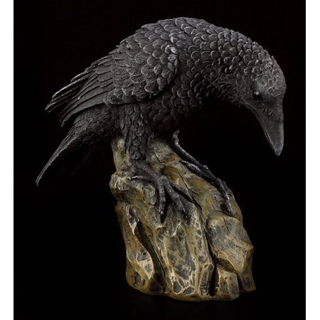 Leaning Black Raven on Rocks Hand Painted Resin Statue - Hand Painted Block