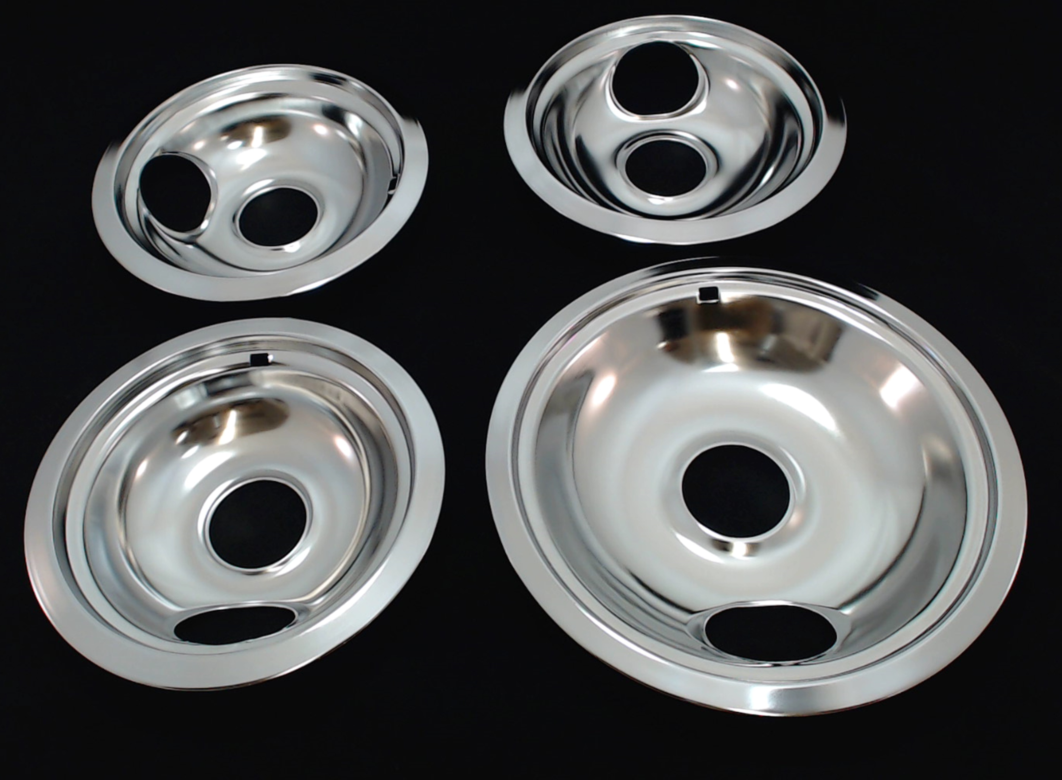 Sikawai Replacement Chrome Drip Pans for Whirlpool W10196405 and W10196406 include 1 Large 8 and 3 Small 6 Drip Bowl Pans