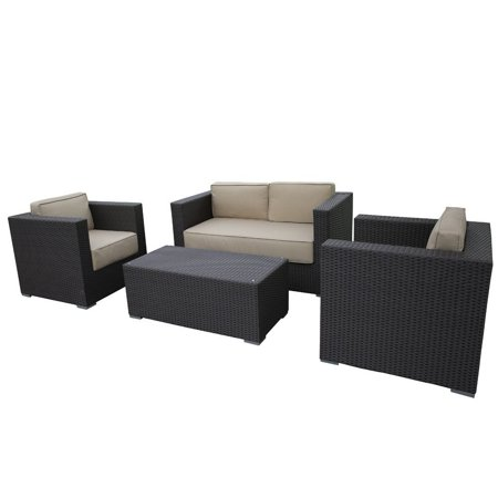 Abba Patio Outdoor Brown Wicker Patio Garden Lawn Sofa Cushioned Seat