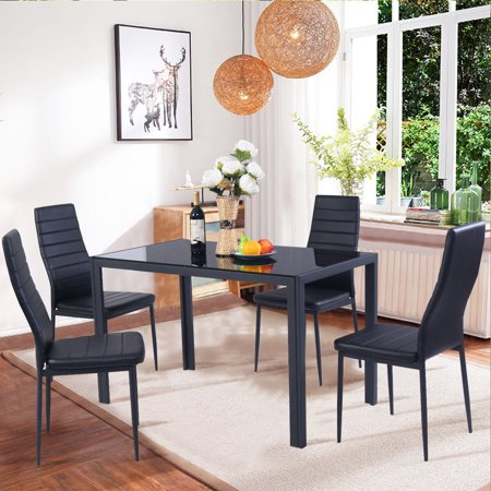 Costway 5 Piece Kitchen Dining Set Glass Metal Table and 4 Chairs Breakfast (Padded Dining Table Set)