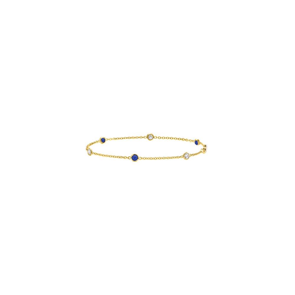 Station Sapphire and Diamond Bracelet in 14K Yellow Gold 0.75 CT TGW - image 2 of 2