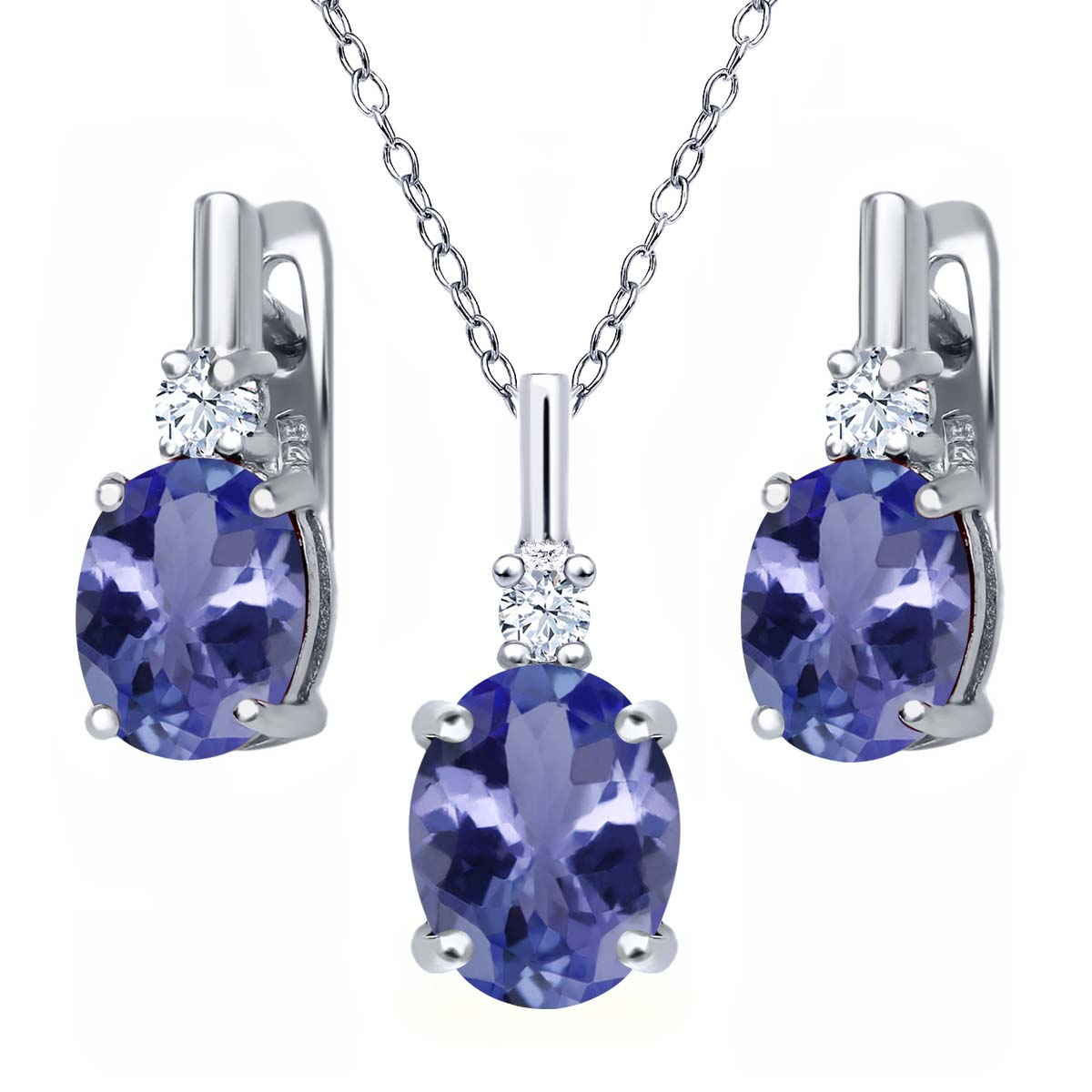 5.15 Ct Blue Tanzanite AAAA 925 Sterling Silver Pendant Earrings Set by