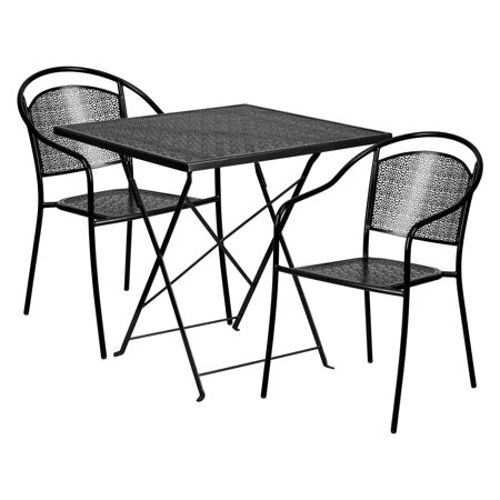 Flash Furniture Square Black IndoorOutdoor Steel Folding Patio - Metal folding patio table and chairs