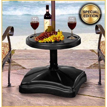 Shademobile Rolling Umbrella Stand And Accessory Table