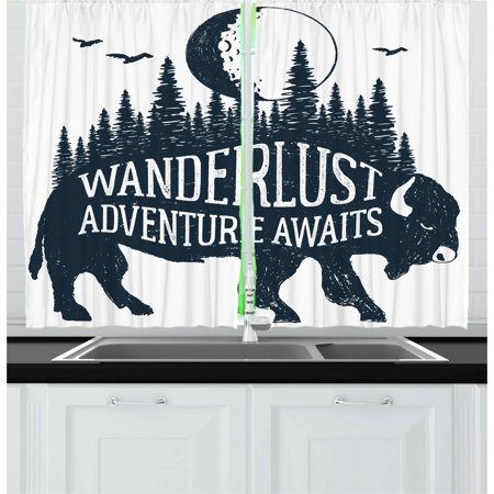 Adventure Curtains 2 Panels Set, Hand Drawn Buffalo with Wanderlust Lettering Forest and Moon Journey Theme Print, Window Drapes for Living Room Bedroom, 55W X 39L Inches, Indigo, by Ambesonne ()