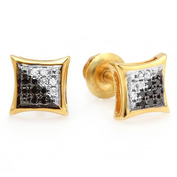 0.10 Carat (ctw) Black & White Round Diamond Micro Pave Setting Kite Shape Stud Earrings 1/10 CT