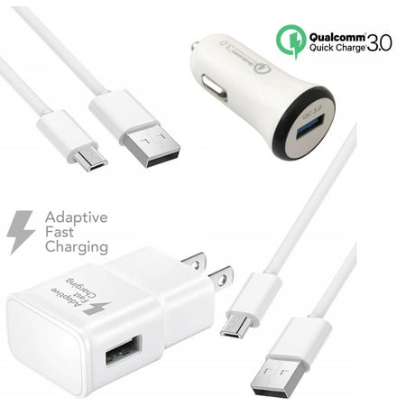 Adaptive Fast Charger Kit Compatible with Samsung Galaxy S7 Active Devices - [1 x qc 2.0 amp Wall Charger + 1 x qc 3.0 amp Car Charger + 2 x Micro USB Cable] - Faster Charging! - White - image 9 of 9