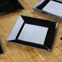 "10pcs 7"" Black Disposable Square Salad Dessert Plates Set of 2"