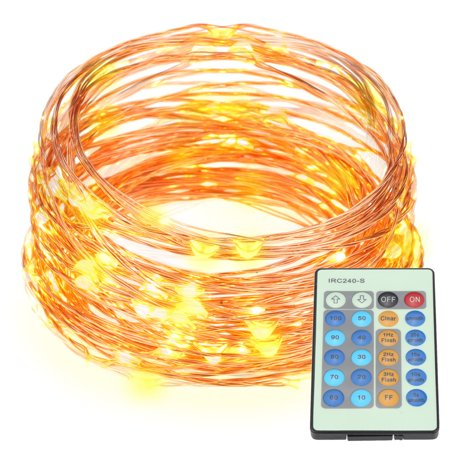 Dc Dimmable Electronic (20m/66ft 200 LEDs Outdoor Copper String Wire Lights Dimmable LED String Lights Flash Strobe Water-resistant IP65 Decorative Firefly Rope Lights Warm White with DC 5V Adapter&Remote Control)