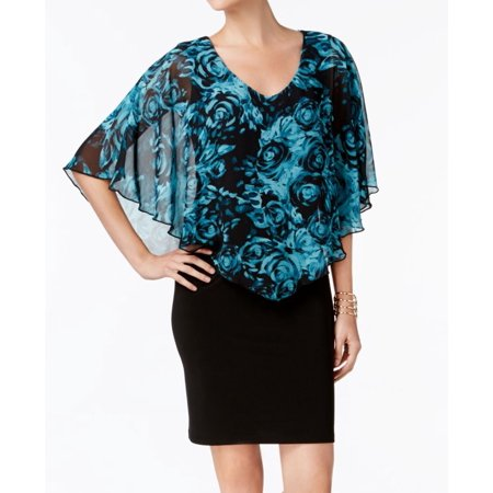 Connected Apparel NEW Blue Womens Size 10 Layered V-Neck Sheath