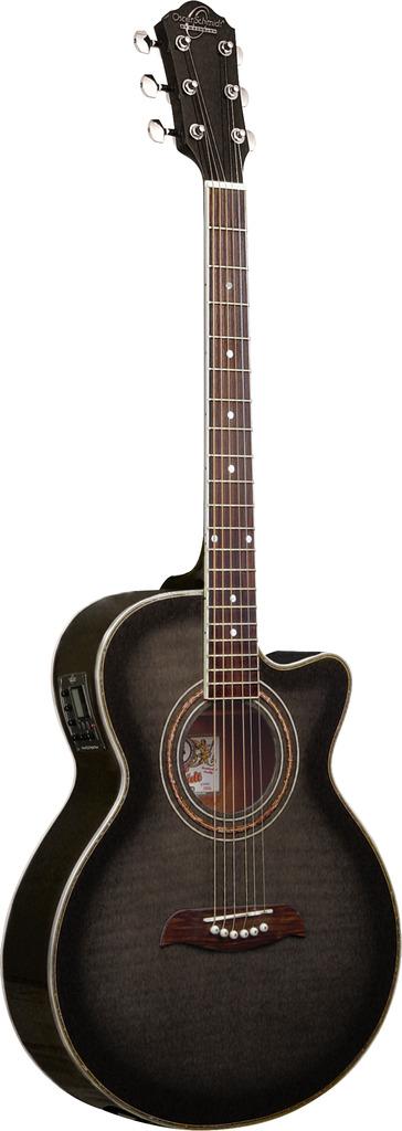 Oscar Schmidt Concert Folk Size Acoustic Electric Guitar, Trans Black, OG10CEFTB by Oscar Schmidt