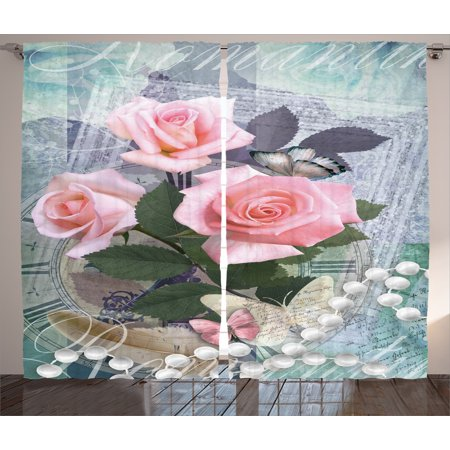 Floral Curtains 2 Panels Set, Classic Rose and Pearls Romantic Dramatic Love Symbols Together Grace Bouquet Artwork, Living Room Bedroom Decor, Pink Grey, by Ambesonne