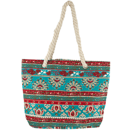 Lux Accessories Red and Turquoise Paisley Printed Rope Summer Beach Tote Bag ()