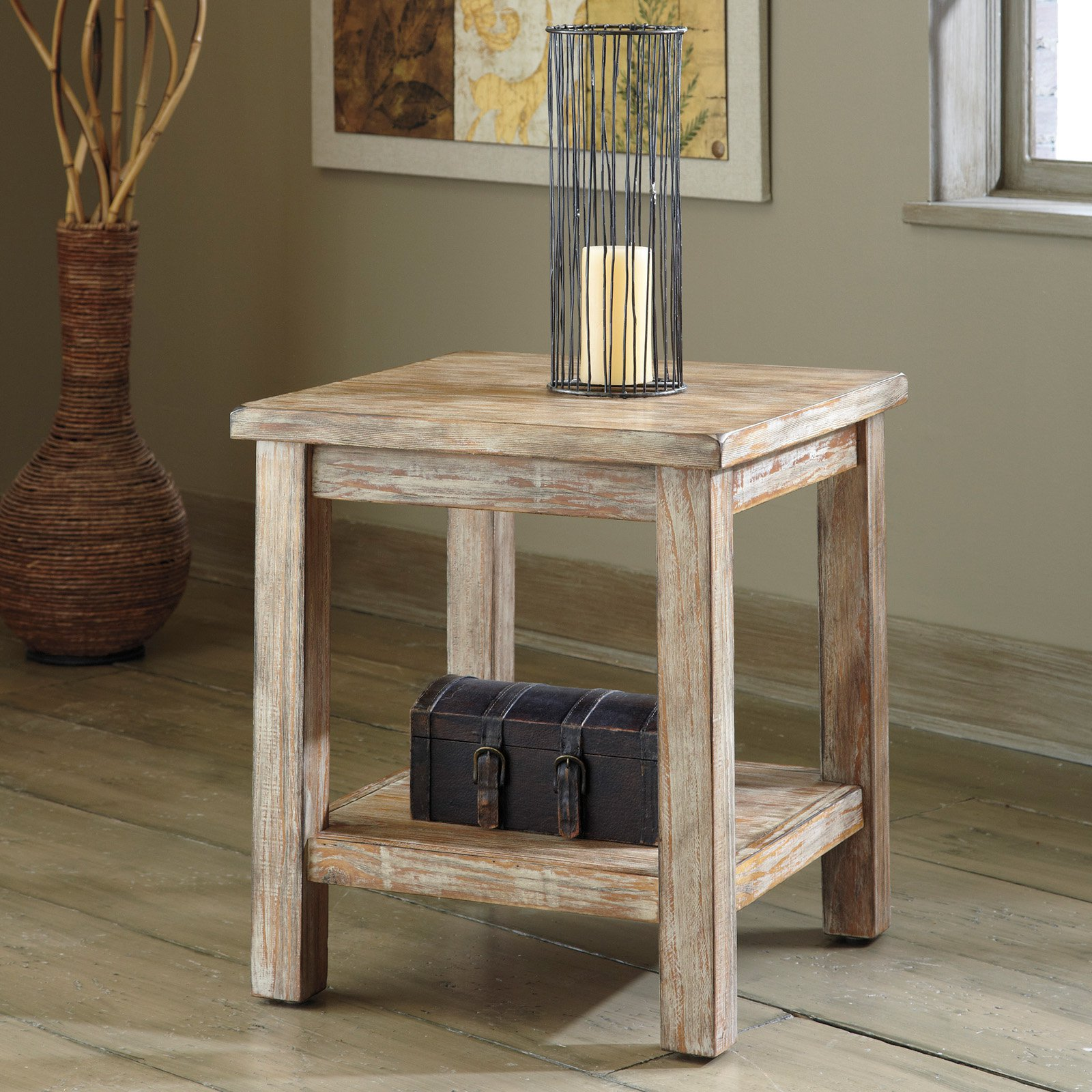 Signature Design By Ashley Rustic Accents Bisque Chair Side End Table Walmart Com