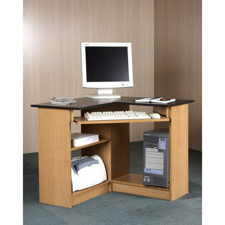 Orion Corner Computer Workstation, Oak and - Oak Collection Corner