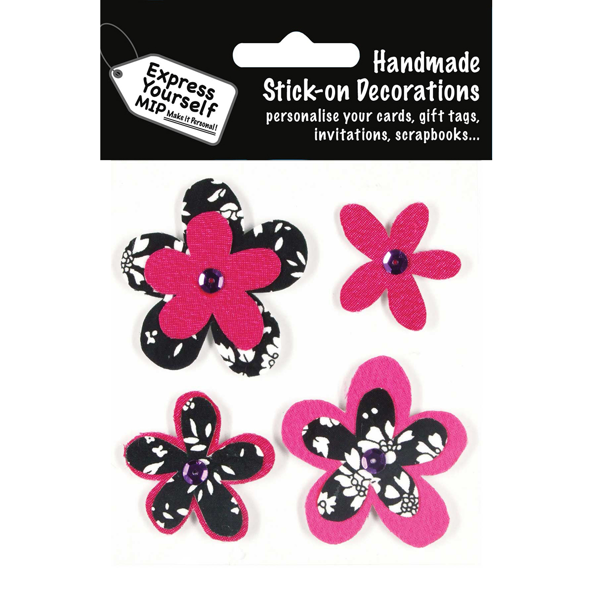 Express Yourself MIP 3D Stickers-4 Flowers - Black & Pink