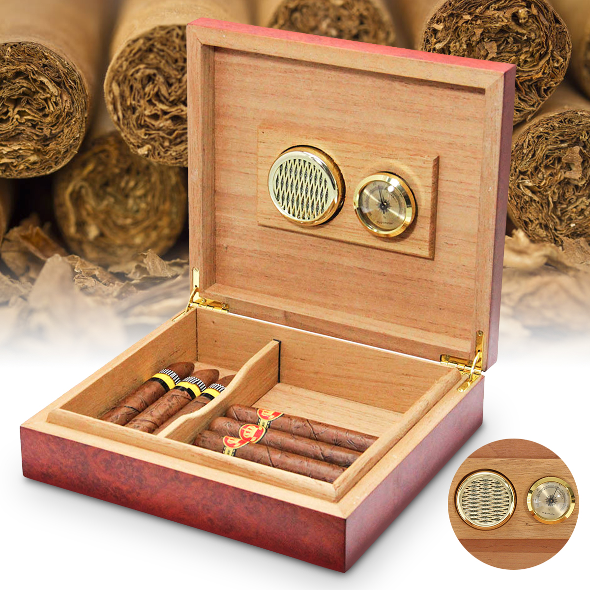 Cigar Humidor Cedar Wooden Lined Storage Case Box with Humidifier Hygrometer US