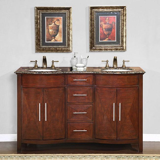 Silkroad Exclusive Double Sink 58 Inch Granite Top Vanity Cabinet Walmart Com Walmart Com