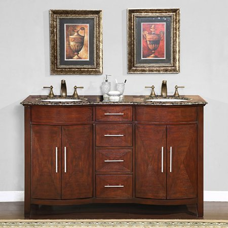 Silkroad Exclusive  Double Sink 58-inch Granite Top Vanity Cabinet
