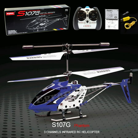 Cheerwing S107 S107G 3 5CH Alloy Mini Remote Control RC Helicopter Gyro Blue