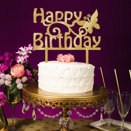 fashionhome Happy Birthday Cake Topper Acrylic Gold Twinkle DIY Glitter Cupcake Cake Smash Candle Party Handmade Stick - image 5 of 5