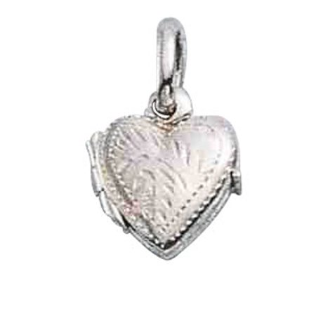 """Sterling Silver 16"""" .8mm Box Chain Etched Heart Locket Pendant Necklace"""