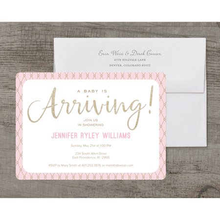 Glamorous Sparkle Deluxe Baby - Pink Safari Baby Shower Invitations