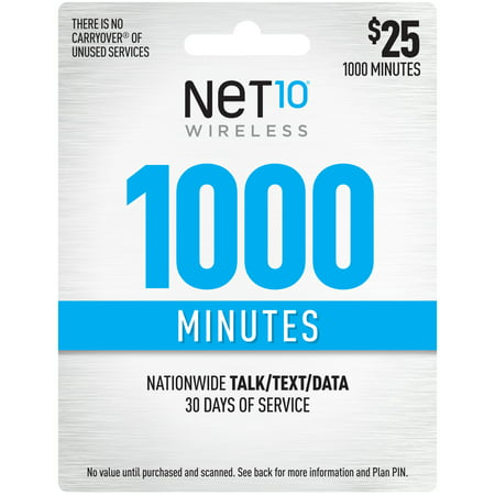 Net10 $25 1000 Minutes Prepaid 30 days Plan (Email