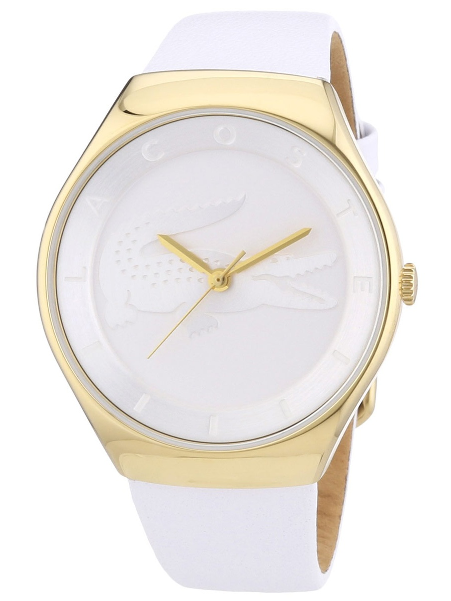 2000763 Women's Valencia White Dial Yellow Gold Plated Steel White Leather Strap Watch