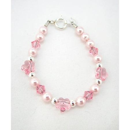 - Pink Swarovski Pearls and Flower Crystals Bracelet