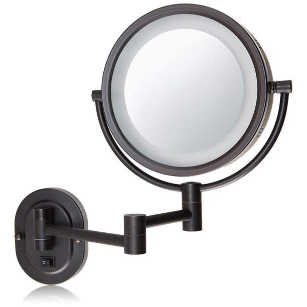 Hl65bzd 8 Inch Lighted Direct Wire Wall, Oil Rubbed Bronze Lighted Make Up Mirror