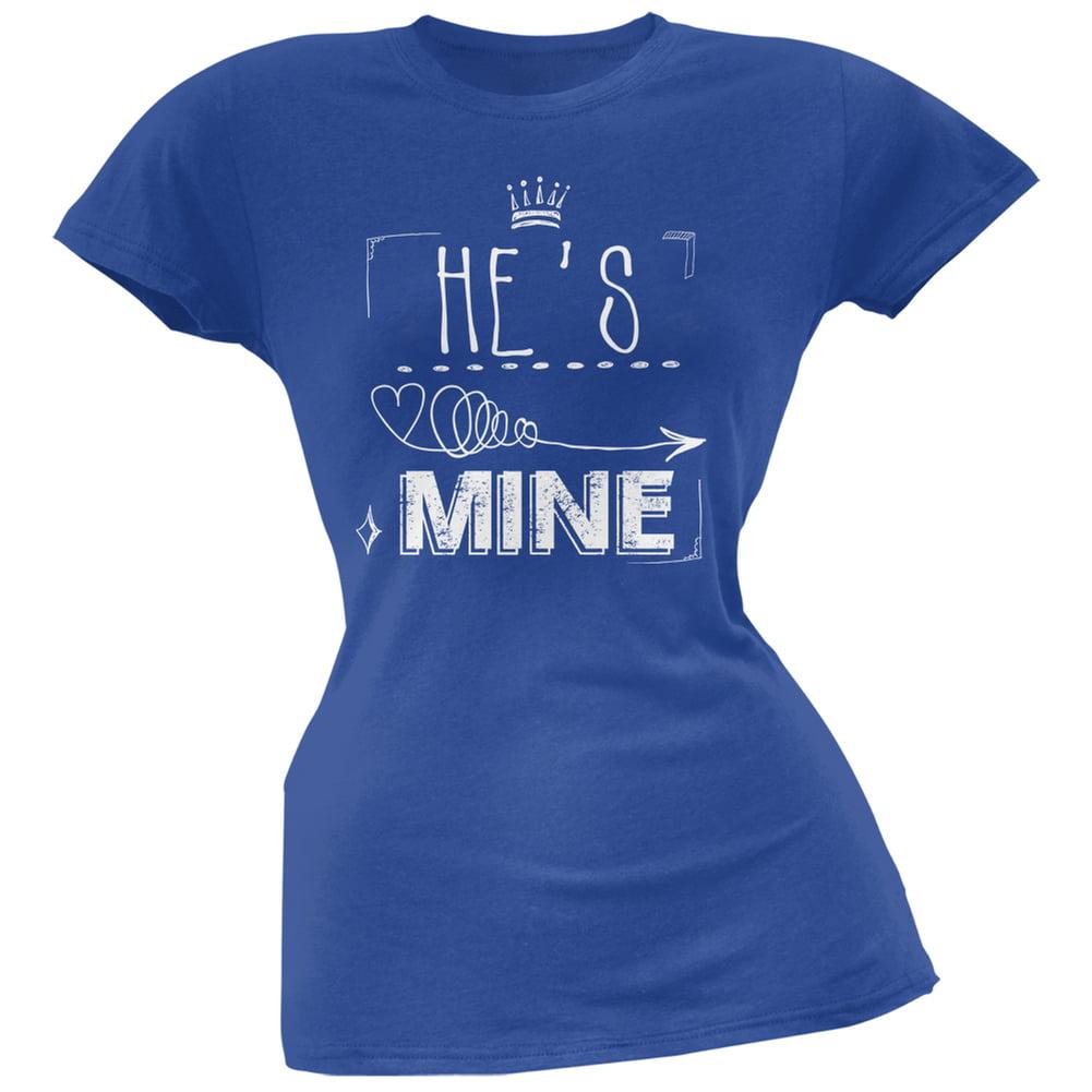 He's Mine Arrow Blue Soft Juniors T-Shirt