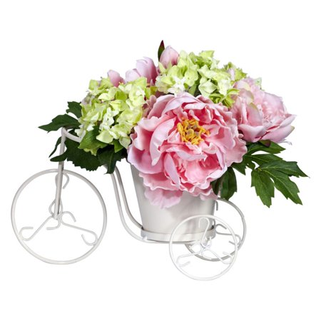 Nearly Natural Peony and Hydrangea Tricycle Silk Flower Arrangement ()
