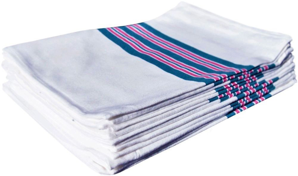 "GHP 6-Pcs Blue Pink Stripe 30""x40"" 100% Cotton Unisex Ultra Soft Receiving Blankets by Globe House Products"