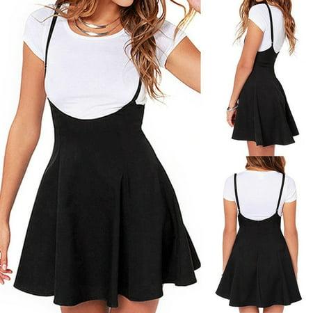 Fashion Trendy Girl Waist Suspender Women Skirt Black Skater High Waist Pleated Dress