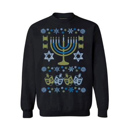 Ugly Holiday Sweater Ideas (Awkward Styles Hanukkah Menorah Sweatshirt for Hanukkah Funny Holiday Gifts Jewish Sweater for Women and Men Ugly Hanukkah Sweater Jew Sweater Chanukkah Sweater Funny Gifts for Jewish)