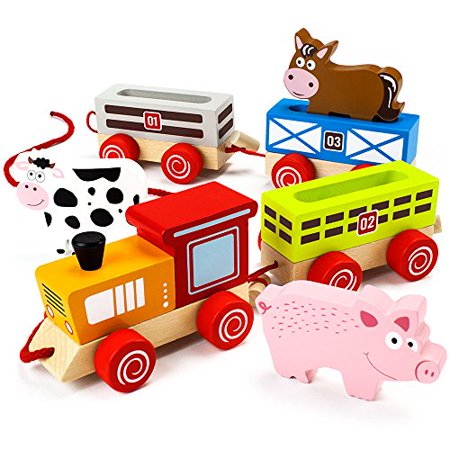 Imagination Generation Push-n-Pull Busy Barnyard Train | Classic Wood Farm Animals -