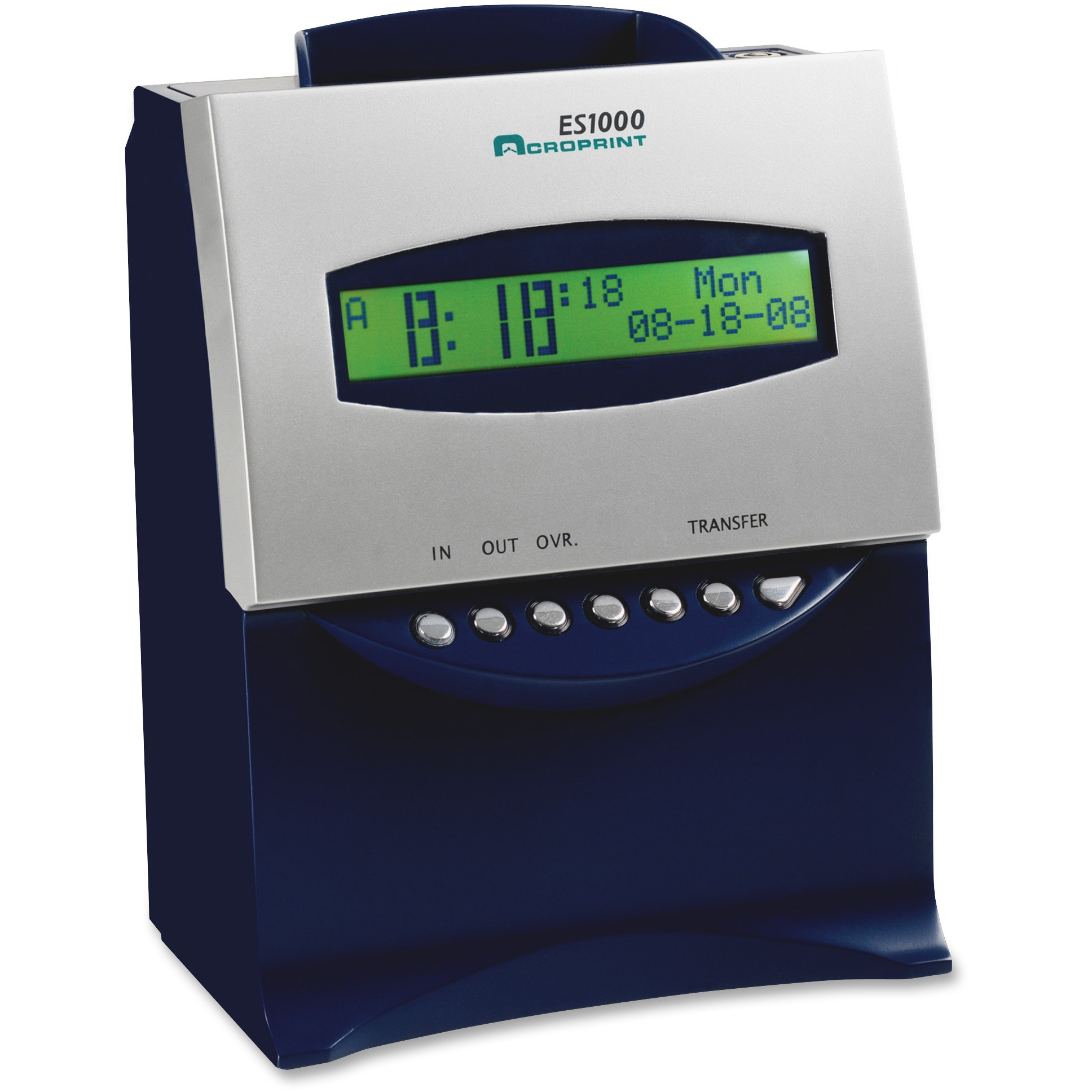 Acroprint ES1000 Totalizing Digital Automatic Payroll Recorder/Time Clock, Blue and Silver
