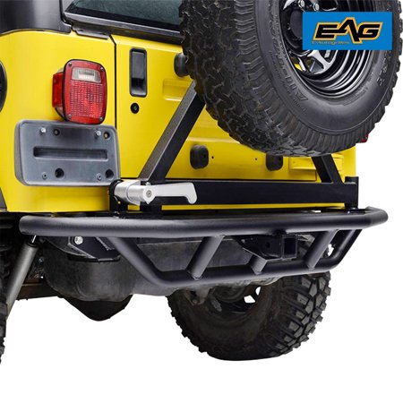 Bumper Tire Carrier - EAG Rear Bumper with Tire Carrier Tubular for 87-06 Jeep Wrangler YJ/TJ