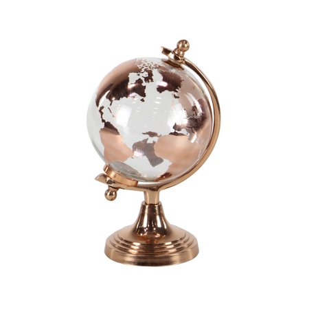 Award Glass Globe (Decmode Modern 11 X 6 Inch Copper Glass And Aluminum Globe)