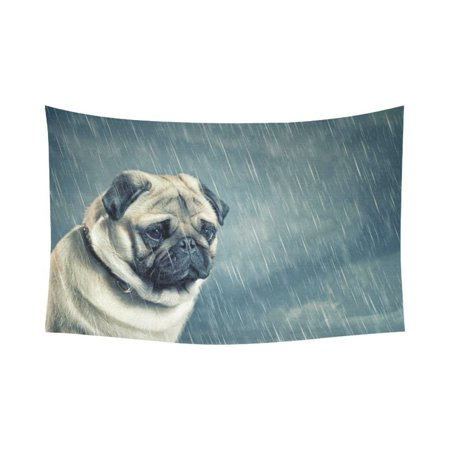 Rain Wall Hanging - PHFZK Animal Pattern Wall Art Home Decor, Sad Dog in the Rain Tapestry Wall Hanging 60 X 90 Inches