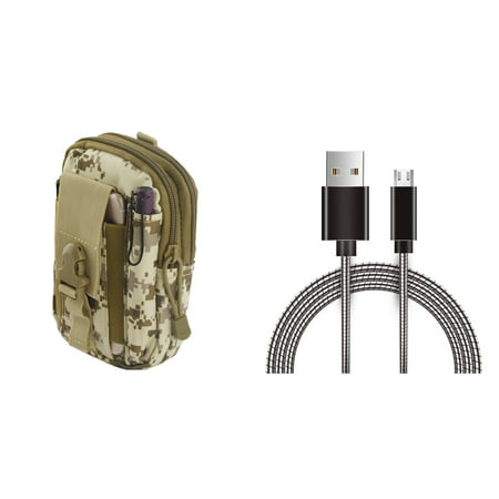 Samsung Galaxy Amp Prime 2 - Bundle: Tactical EDC MOLLE Utility Waist Pack Holder Pouch (Desert Camo), Metal [Aluminum Connectors] Data Transfer Charging Micro USB Cable, Atom (Best Micro Amp For Metal)