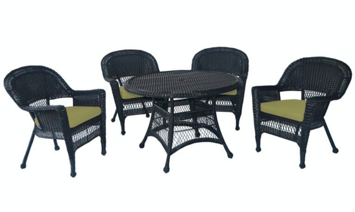 5-Piece Black Resin Wicker Chair & Table Patio Dining Furniture Set Green Cushions by CC Outdoor Living