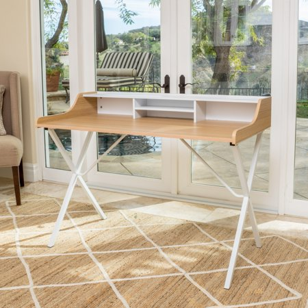 Faux Leather Desk - Alexandria Modern Faux Wood Computer Desk, Oak and White