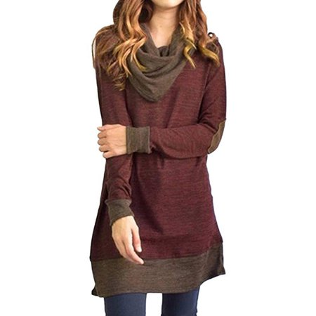 Women's Cowl Neck Tops Two Tone Color Block Pullovers Long Tunic Blouse (Color Block Tunic)