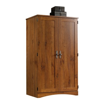 Oak Computer Armoire - Sauder Harvest Mill Computer Armoire, Abbey Oak Finish