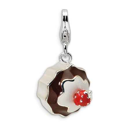 Dessert Charm (Sterling Silver 3-D Enameled Dessert With Lobster Clasp Charm - 2.9 Grams - Measures 24x12mm)